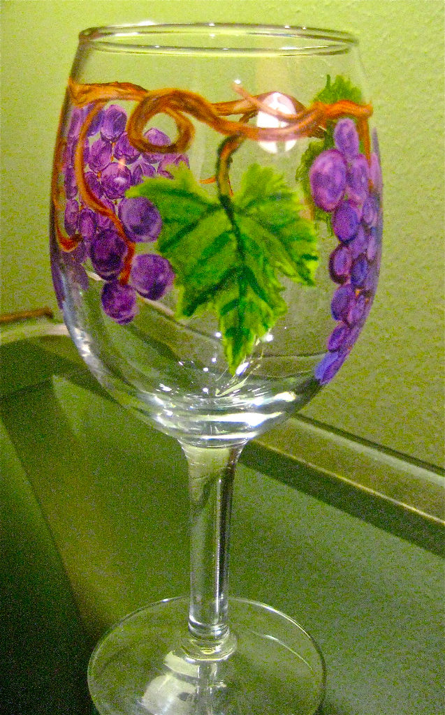 Painted Grapes on glass_#4